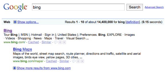 [bing] on Google