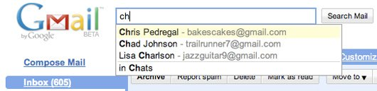 Gmail Search Autocomplete