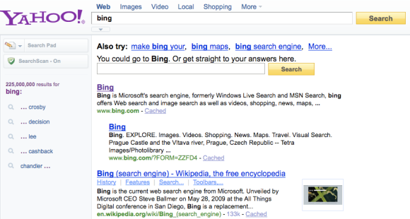 [bing] on Yahoo